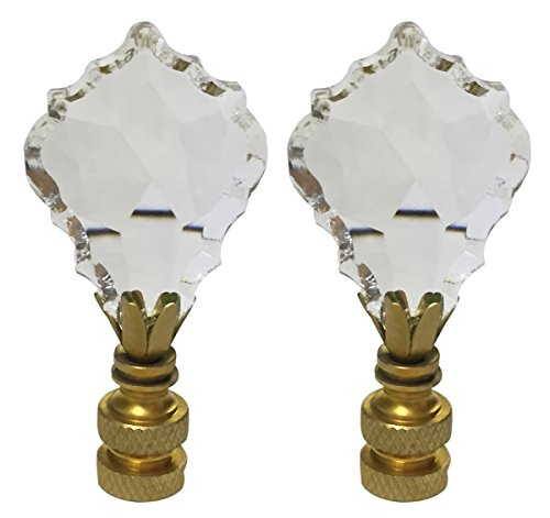 - Royal Designs CCF2002-PB-2 Pendalogue French Cut Clear K9Crystal Finial for Lamp Shade with Polished Brass Base Set of 2, 2 Piece