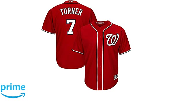 17d24801 Amazon.com : Outerstuff Trea Turner Washington Nationals #7 Red Youth Cool  Base Alternate Replica Jersey : Sports & Outdoors