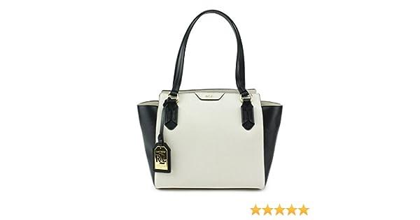 f40b80490f4 Amazon.com  Lauren Ralph Lauren Tate Modern Shopper Satchel Ivory Black  Black  Shoes