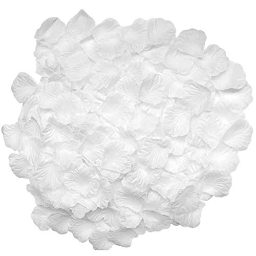 CATTREE Rose Petals, 3000 PCS Silk Artificial Petals Vase Home Decor Wedding Bridal Decoration Wholesale Party Ceremony (White)