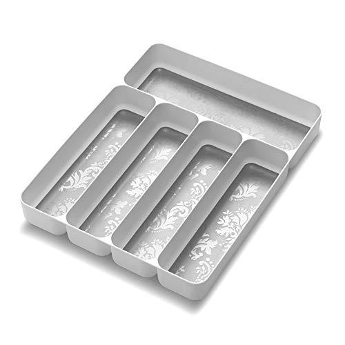 madesmart 28105 Soft 5 Compartment Silverware Tray, Damask - White Organizer, Small,