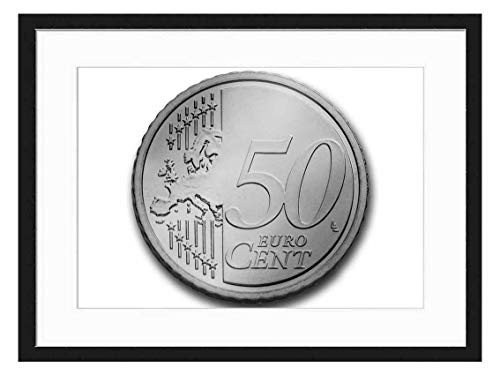 Amymami Art Print Wall Picture (Black White 20x14 inch) - Cent 50 Euro Coin Currency Europe Money Wealth (Euro 50 Cent Coin)