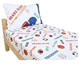 Everyday Kids Toddler Fitted Sheet and Pillowcase Set -Varsity Sports: Football, Baseball, Basketball and Soccer- Soft Microfiber, Breathable and Hypoallergenic Toddler Sheet Set