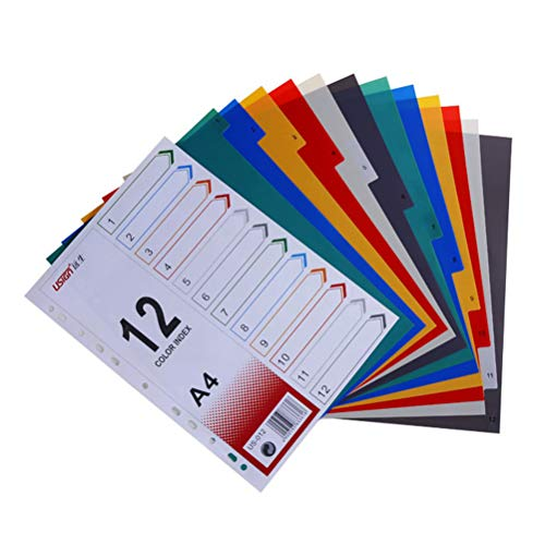 STOBOK A4 Binder Dividers Colored Index Tabs Page Markers for Notebook Memo,Monthly Dividers,1 Set ()
