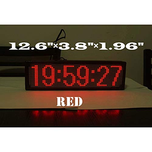 Large LED GPS Wall Clock Coordinated Universal Time Automatic Correcting (Red)