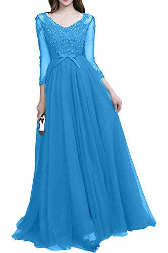 La Promkleider Spitze Ausschnitt Blau Tuerkis A V Festlichkleider Linie Rock Brautmutterkleider Prinzess Marie Braut T1xX8qIwrT