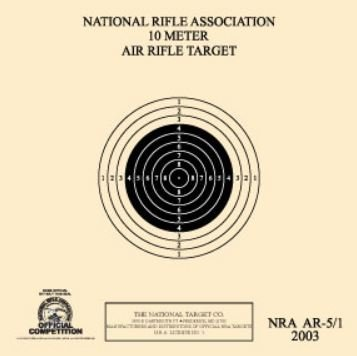 Official NRA Air Rifle Target, AR-5/1, 10 Meter