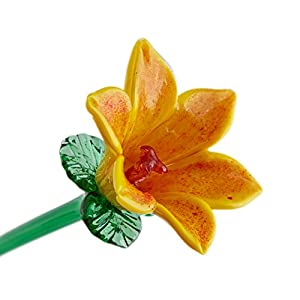 "Yellow Glass Lily Flower, One-of-a-kind. Life Size 20"" long. FREE SHIPPING to the lower 48 when you spend over $35.00 42"
