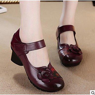 SANMULYH Frauen 'S Schuhe Pu Fallen Komfort Fersen Ferse Runder Closed-Toe Für Casual Rot Lila Schwarz