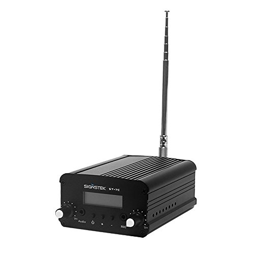 Signstek 7W 7C FM Transmitter Mini Radio Stereo Station PLL LCD with Antenna, Black ()