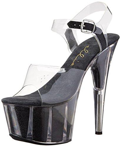 Ellie Schoenen Dames 709-glitter Platform Sandaal Zwart