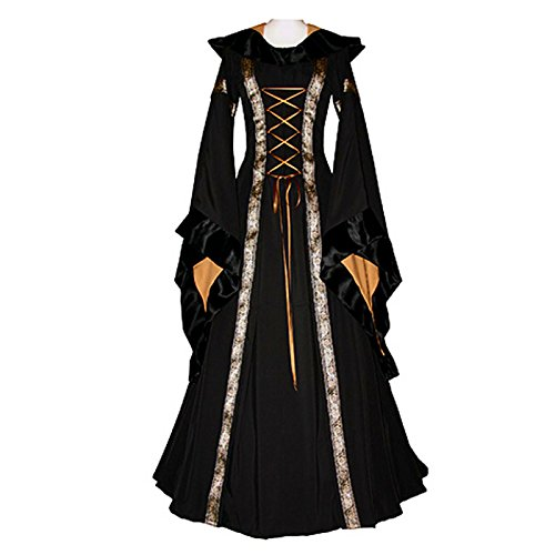 Medieval Dresses Cheap (KASST Halloween Cosplay Costume Renaissance Medieval Irish Costume Over Dress Dress Gothic Dress (L, black))