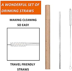 WOAWL Reusable Metal Straws For Drinks With Outdoor Wooden Case Set include 4 straight Stainless steel Straws+2 Travel Cases made of logs can be reused+2 Cleaning Brushes Sweepstakes