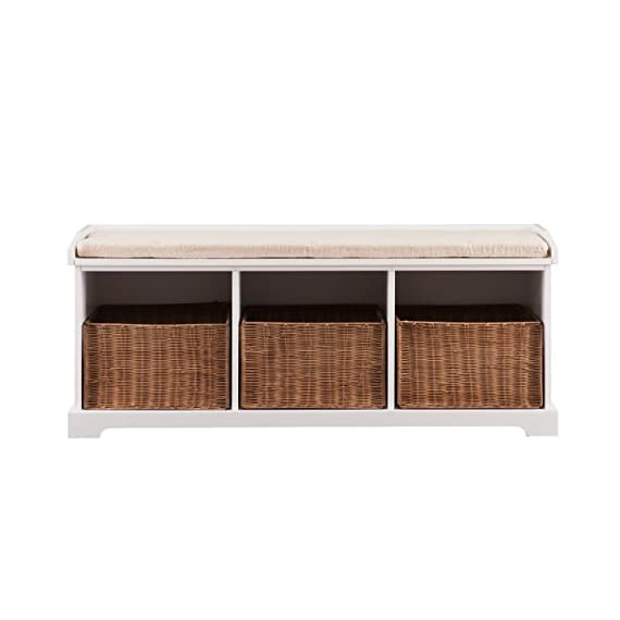 """Southern Enterprises  Loring Entryway Storage Bench, White - Low profile Bench with 3 rattan storage baskets White painted Finish with removable linen Cushion Overall dimensions 49"""" wide x 16"""" deep x 20.25"""" high - entryway-furniture-decor, entryway-laundry-room, benches - 415VTK7xZfL. SS570  -"""