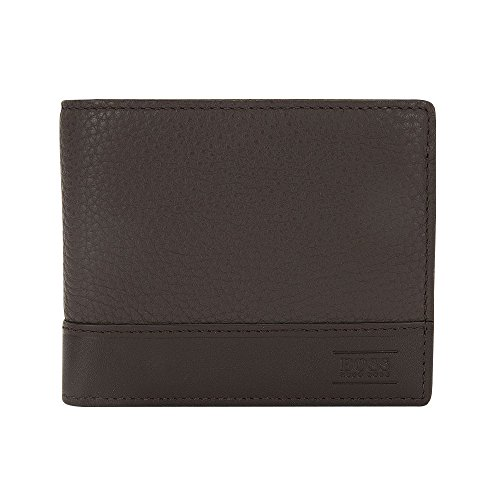 Hugo Boss Men's Aspen Trifold Leather Wallet, OS, Dark Brown