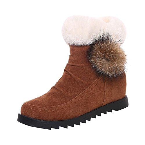 Carolbar Womens Pom-Poms Cute Fashion Faux Fur Hidden Heel Snow Boots Brown YEyxwIG