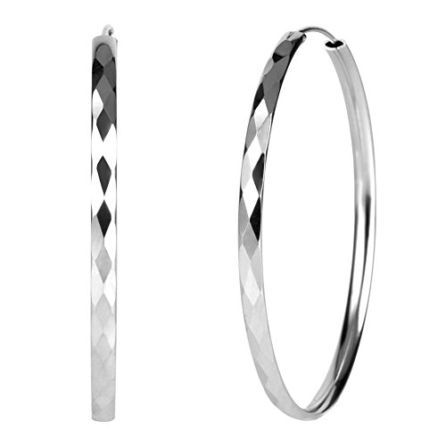 (GT market 925 Sterling Silver Diamond-Cut Hoop Earrings, 30mm Diameter)