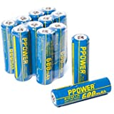 PPOWER AA Rechargeable NiCD Battery, 1.2V 600mAh Real Capacity AA Batteries for Solar Lights, Garden Lights, Remotes, Mice, etc (12x)