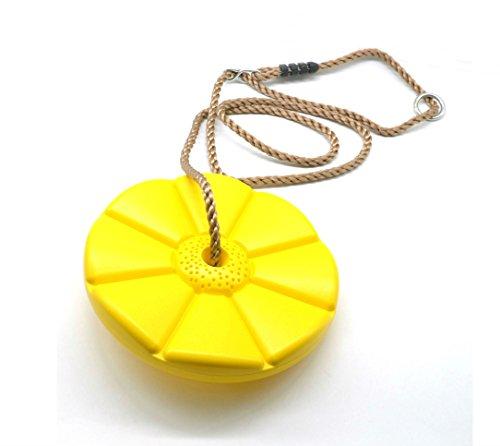 HappyPieTreeDiscRopeSwing-SeatSwingMonkeyforKid-HeavyDutyRopeSwingSetforOutdoorPlay -Yellow