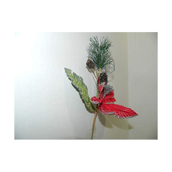 """Tanday 6 bouquets 9.5"""" (#6423) christmas picks w/ poinsettia flower, pine cones & evergreen leaf – Red/Silver"""