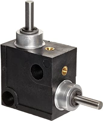 "Huco 333.31.3.Z Size 31 L-Box Miniature Right Angle Gearbox, Acetal Case with Acetal Gears, Inch, 1.2"" OD, 1.2"" Length"