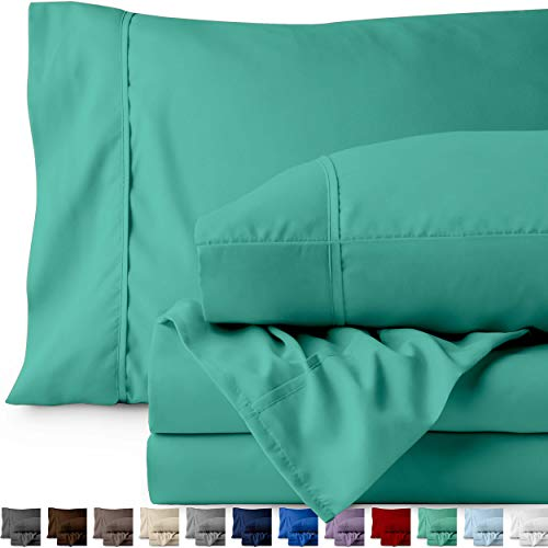 Bare Home King Sheet Set - 1800 Ultra-Soft Microfiber Bed Sheets - Double Brushed Breathable Bedding - Hypoallergenic - Wrinkle Resistant - Deep Pocket (King, Turquoise)
