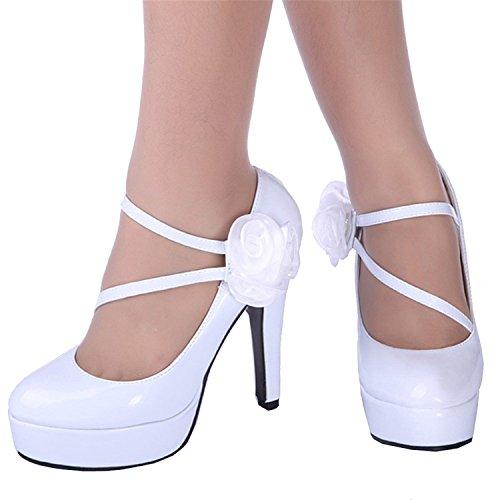 Stile Alto Eleganti Mary Tacco Da Di Anche Sposa Brevetto Donne Bianco Rose Delle Jane Epoca Facili wxqH6
