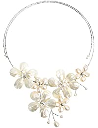 Floral Mother of Pearl & Cultured Freshwater White Pearl Cluster Choker Wrap Necklace