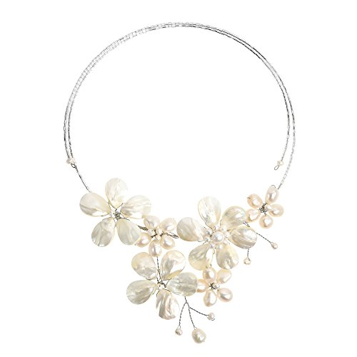 AeraVida Floral Mother of Pearl & Cultured Freshwater White Pearl Cluster Choker Wrap -