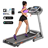 ANCHEER Folding Treadmill, 3.0HP Electric Treadmill with Bluetooth, LCD and Pulse Monitor, Motorized Running Machine with Smartphone APP Control for Home Office Gym Exercise