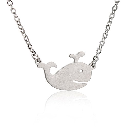 HUAN XUN Killer Whale Necklace Girls Jewelry - Stainless Steel Dainty Chain Necklaces 16