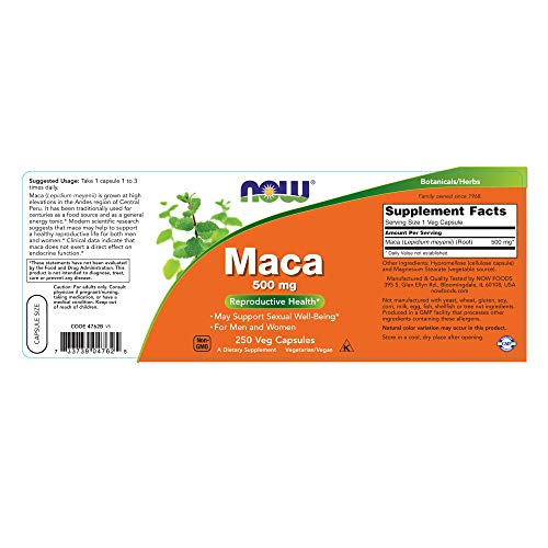 NOW Supplements, Maca (Lepidium meyenii)500 mg, 250 Veg Capsules