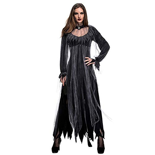 ESOEM Halloween Women Zombie Bride Black Dress Costume for Club and Party, Sexy Adult Outfit with Neck Band -