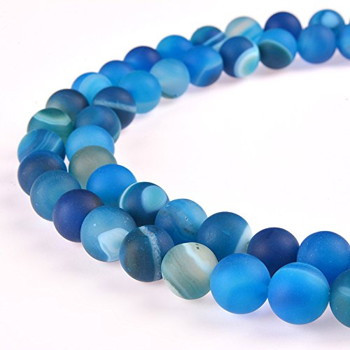 PLTbeads Gorgeous Blue Stripe Agate Natural Gemstone Loose Beads 10mm Matte Round Approxi 15.5 inch DIY Bracelet Necklace For Jewelry - Blue Beads Stone