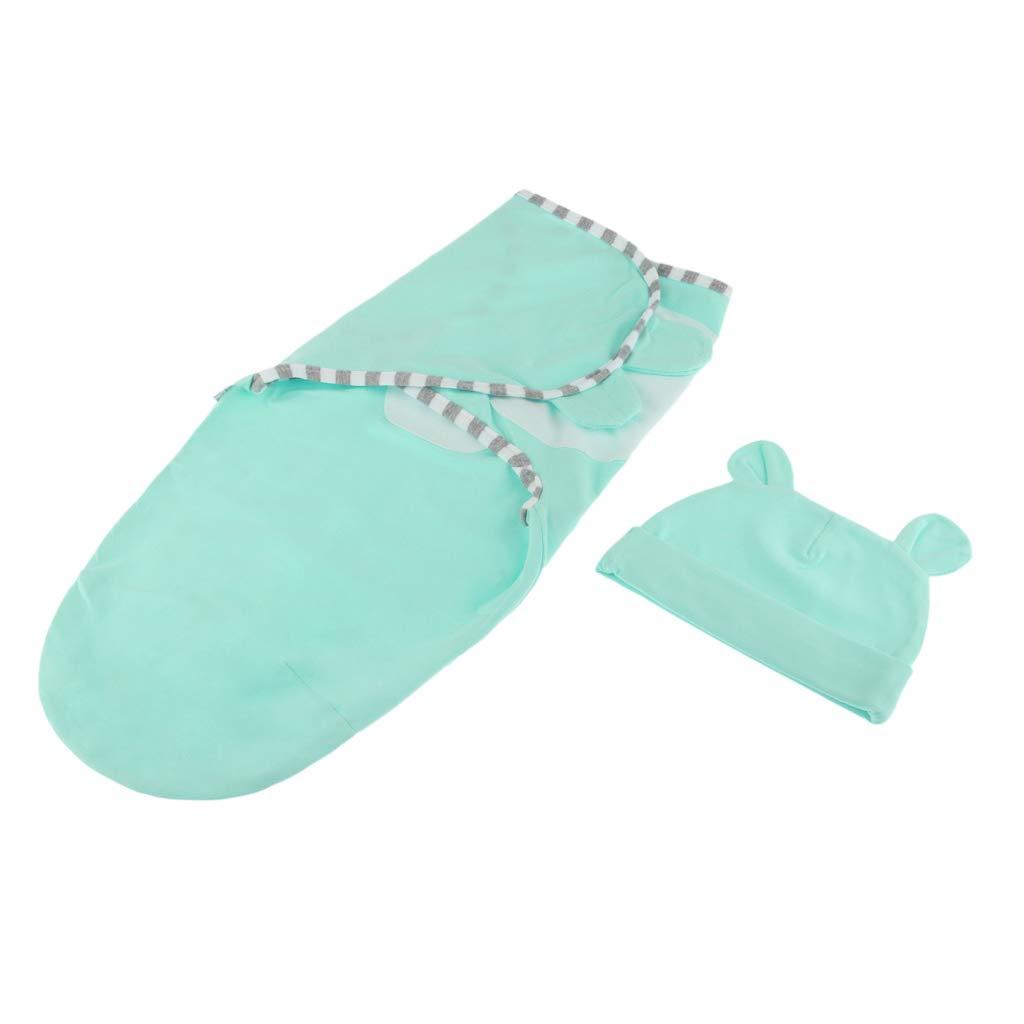 Blau SM SunniMix Neugeborenen Pucksack Pucktuch Puckdecke 0-3 Monate Schlafsack mit Baby M/ütze