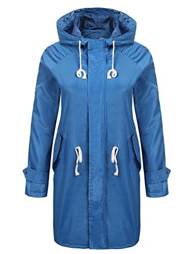 Hiking Raincoat Lightweight Windproof Womens Coat Blue Trench Pagacat Rain Hoodie Travel Waterproof Jacket 5q8FxXw