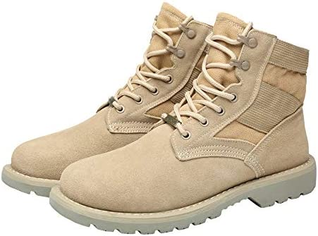 Cicongzai Men's Genuine Leather Lace Up Ankle Combat Boots Women's Casual High Top Winter Boots Genuine Leather Splice Canvas Vamp Lovers Shoes (Color : Warm Khaki, Size : 6.5 UK)