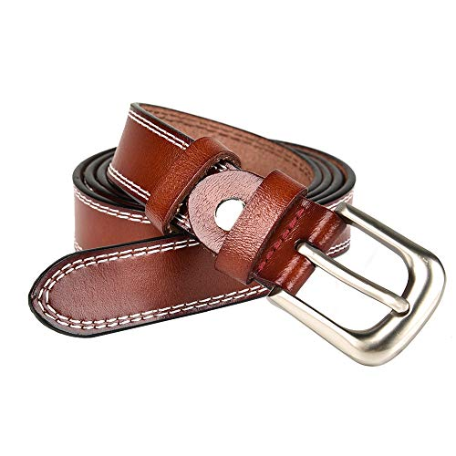 (LUXUR Women Leather Belts Silver Buckle Fashion Genuine Premium Leather Belts for Pants or Dresses Dark)