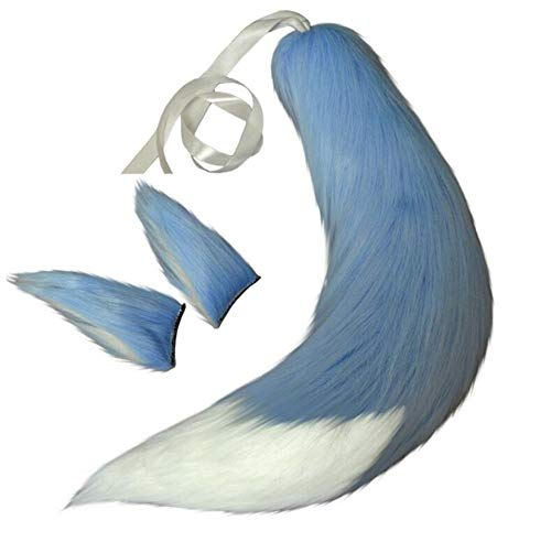 Fox Plush Tails Clip Ears Anime Spice Wolf Halloween Cosplay Props Children Toys (Blue)