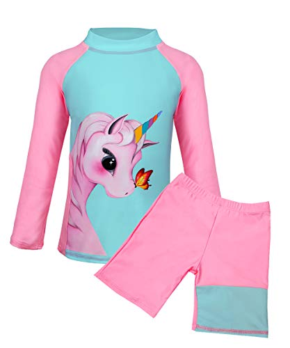 Suyye Girls Unicorn Tankini Two Pieces Swimsuits Rash Guard Kids Swimwear (Green/Pink, 5-6 Years) ()