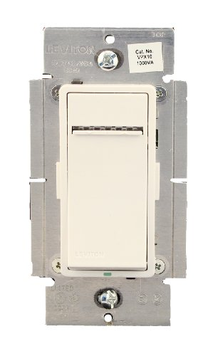 Leviton VPX10-1LZ, Vizia + Digital 1000VA Fluorescent Dimmer for Mark 10 Powerline or Tu-Wire Ballasts, Single Pole and 3-Way, White/Ivory/Light (Fluorescent Mark 10 Dimmers)