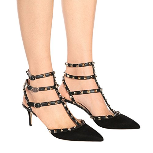 Eks Dames Stiletto Spikes Klinknagel Riemen Sandalen Pumps Suede Zwart