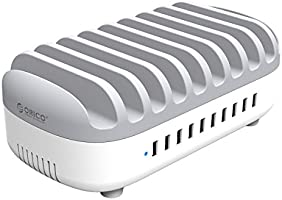 ORICO 10 Ports Charging Station for Multiple Device, ETL Listed USB Charging Dock Phone/Tablets Organizer for 10 iPads...
