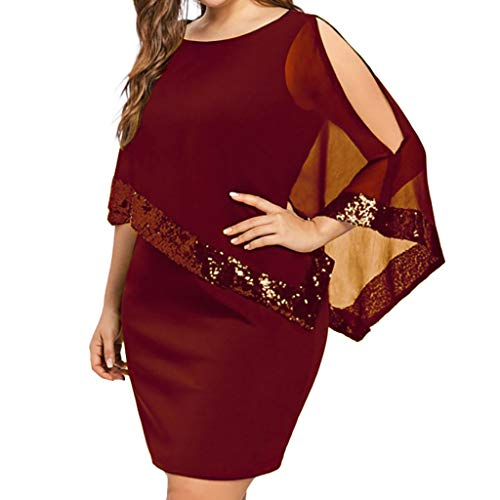 ONLY TOP Sequined Overlay Party Dress Chiffon Poncho Slit Sleeve Pencil Cocktail Mini Dress Red