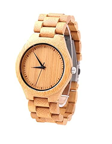 Mercimall Bamboo Watch Wooden Wristwatches for Men with Removable Wooden Band (Vegan Leather Watch Man)