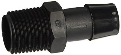 "Eldon James A8-10BN Black Nylon Adapter Fitting, 1/2-14 NPT to 5/8"" Hose Barb (Pack of 10)"