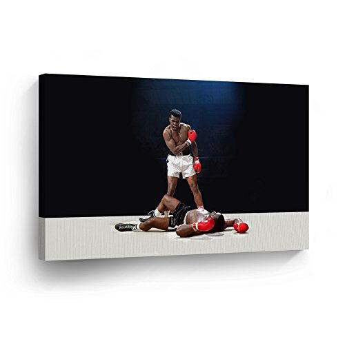 Muhammad Ali vs Sonny Liston First Minute First Round/Knockout/ CANVAS PRINT Extraordinary Win Decorative Art Wall Decor Artwork Wrapped Artwork - Ready to Hang -%100 Handmade in the USA - 24x36
