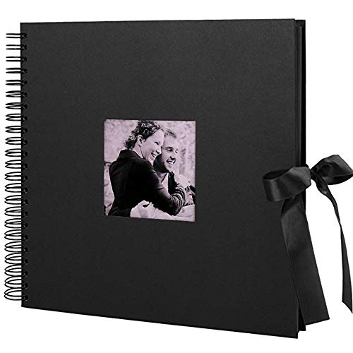 (GLIN 12x12 inch Scrapbook, 60 Pages Photo Album with Photo Opening, Wedding Guest Book, DIY Anniversary Travel Memory Book)
