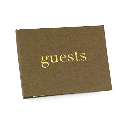 Hortense B. Hewitt Golden Linen Guest Book, 7.5 x 5.75-Inches