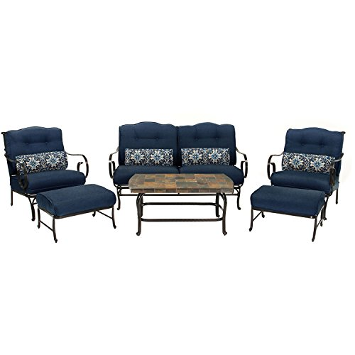 Oceana 6-Piece Patio Set in Navy Blue with a Stone-top Coffee Table (Stone Iron Wrought)